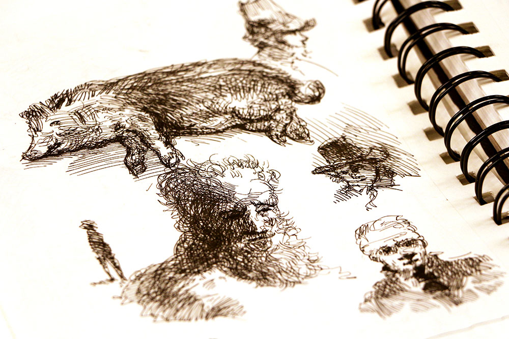 Sketchbook studies at Rembradt's house